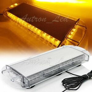 21 Led 40w Amber Flasher Emergency Beacon Mini Top Hazard Warn Strobe Light Bar
