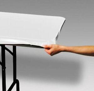 12 WHITE FAST COVER 8 FT.FITTED PLASTIC TABLECLOTHS TABLE COVER SAVE 50% PICNIC $41.70