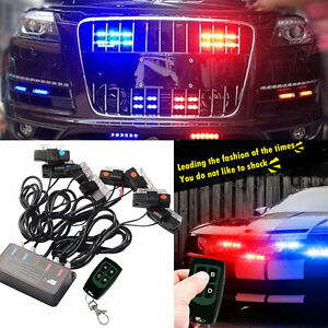 Car Truck Strobe Wireless Emergency Warning Strobe Red Blue Led Light Dash Grill