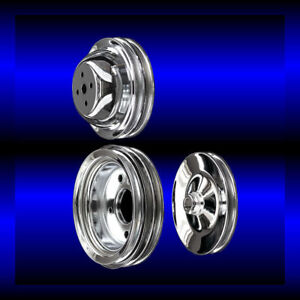Chrome Big Block Chevy Pulley Set 3 Pulleys Short Pump Bbc 396 427 454