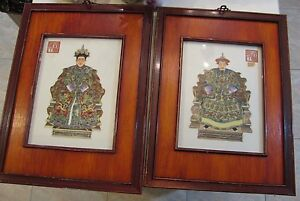 Rare Pair Antique Chinese Ancestral Porcelain Wall Plaques In Frames Signed