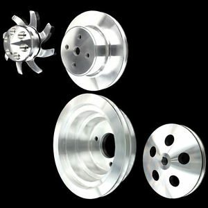 Billet Aluminum 4 Pulley Set For Bb Chevy Long Wp 396 427 454 With Alt Ac And Ps