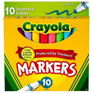 Crayola Broad Line Markers Assorted Colors 10 Ea pack Of 9