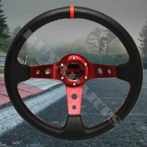 Universal Black Red 350mm Drifting Pvc Leather 6 Bolt Deep Dish Steering Wheel