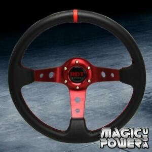 Black red 350mm Deep Dish 6 bolt Steering Wheel W red Stitching Fits Universal