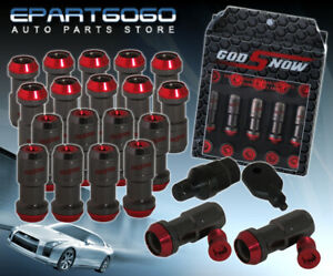 M12x1 25mm 20 Piece Formula Drift Aluminum Tuner Wheel Lug Nuts Gunmetal Red