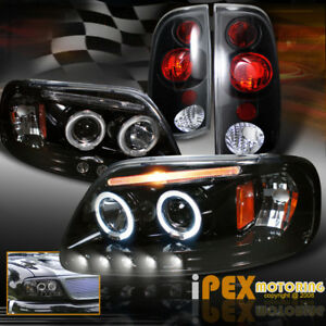 For 1997 2003 Ford F150 Halo Projector Shiny Black Led Headlights Tail Lights