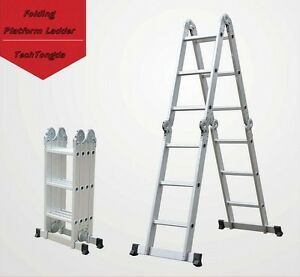 Folding Platform Ladder 16 Ft Aluminum 7 Function Scaffold Ladders Platforms