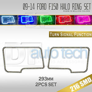 09 14 F 150 Bluetooth Angel Eyes Led Rgb Headlight Halo Ring turn Signal Set