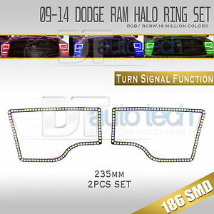 09 16 Ram Bluetooth Angel Eyes Led Rgb Headlight Halo Ring turn Signal Set