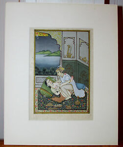 Old Antique Asian Indian India Erotica Miniature Painting
