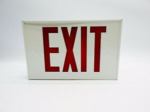 Mule Led Exit Sign Red Lettering White Housing Batterybackup Emergency Lighting