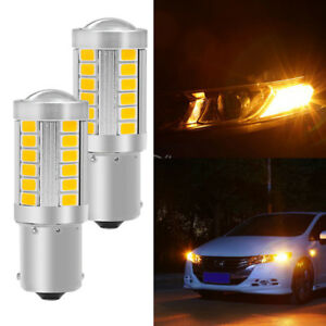 33 Smd Bau15s Led Bulb For Front Turn Signal Lights Amber Yellow 2pcs