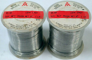 Lot Of 2 American Iron Metal Sn62 Fluxless Solid Solder Wire 062 Dia 1lb Bnib