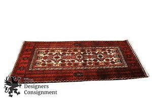 Antique Hand Knotted Afghan Bokhara Rug 28 X 58 Turkmen Wool Kilim Red Runner