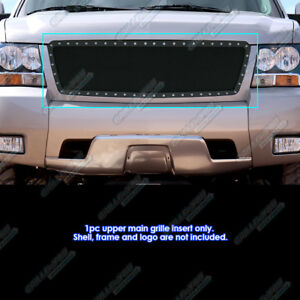 Fits 2007 2013 Chevy Avalanche Suburban Tahoe Stainless Black Rivet Mesh Grille