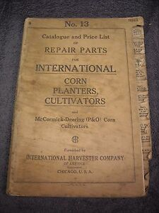 1924 No 13 International Harvester Parts Manual Corn Planters Cultivators P