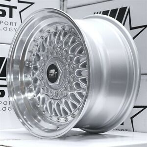 15x8 4x100 4x114 3 20 Mst Mt13 Silver Mesh Machine Lip W Rivet Wheels Set Of 4