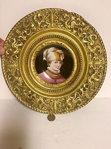 Antique Painted Porcelain Portrait Ornate Brass Plaque Very Unique