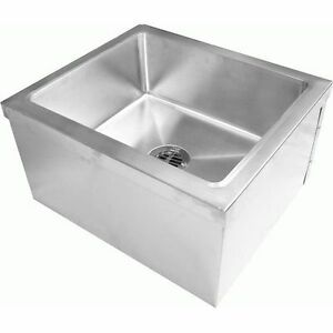 Commercial Stainless Steel Floor Mount Mop Sink 20 wx24 lx11 1 2 h