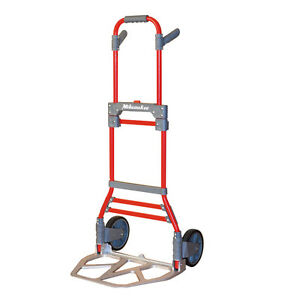 Milwaukee 300 lb Capacity Red Aluminum Folding Hand Truck Dolly