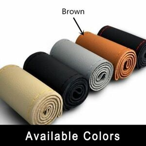 Brown Genuine Leather Auto Diy Car Steering Wheel Cover With Needles And Thread