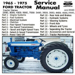 Ford Tractor 2000 3000 4000 5000 3400 3500 4400 4500 5500 Service Manual Pdf Cd