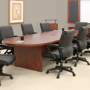 Oval Conference Table With Grommet Office Executive Board Racetrack Mahogany