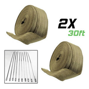 2 Rolls 2 30ft Titanium Header Exhaust Motorcycle Car Heat Wrap Tape ties Kit
