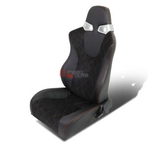 Fully Reclinable Black Pvc Red Stitch Leather Racing Seat slider Driver Side