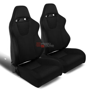 Pair Of Fully Reclinable Black Woven Fabric Racing Seats mount Sliders Rails