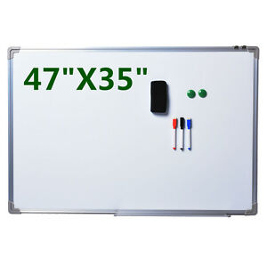 New Single Side Magnetic Writing White Board 47 x 35 Office School Dry Erase