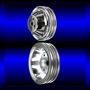 Chrome 2 Pulley Set For Small Block Chevy Short Wp Pulleys Sbc For Ac And Ps