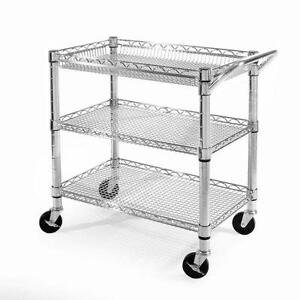 Utility Rolling Steel Cart Kitchen Commercial Storage Dolly Printer Room 3 shelf