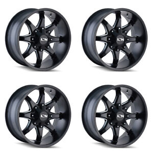 4 17 6 Lug Ion 181 Wheels Black Milled Fits Lifted Ford Chevy Gmc Trucks 6x5 5