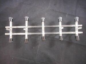 Kimble Kontes Glass Double Gas Vacuum Manifold 5 place Ptfe Valves 500mm Ol