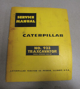 Caterpillar Cat 933 Traxcavator Service Manual 42a1 up 1959