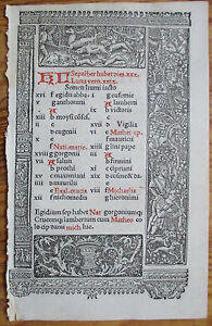 Book Of Hours Leaf Hardouin Woodcut Border Calendar September October 1510