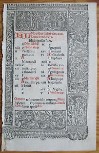 Book Of Hours Leaf Hardouin Woodcut Border Calendar November December 1510