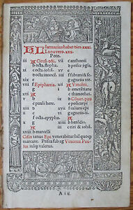 Book Of Hours Leaf Hardouin Woodcut Border Calendar January February 1510
