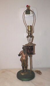 Vintage Polychrome Lamp Man Holding Lamppost Cut To Clear Crystal Original Paint