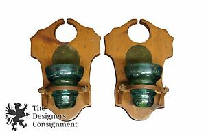 2 Primitive Candle Holders Wall Sconce W Hemingray Insulator Glass Re Purposed