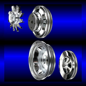 Chrome Big Block Chevy Pulley Set 4 Pulleys Long Pump Bbc 396 427 454 Ac And Ps