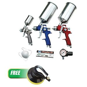 Atd Tools 6900c 9pc Hvlp Spray Gun Set W 6 Random Orbital Palm Sander 2088