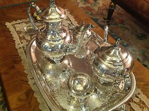 Vintage Wm A Rogers Silver Plated Coffee Tea Sugar Cream And Tray Serving Set