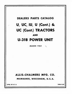 Allis Chalmers U Ui Uc U318 Pu Tractor Parts Catalog Book Reproduction