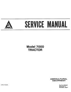 Allis Chalmers 7000 Tractor Service Manual Book Reproduction