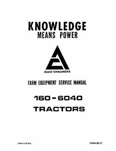 Allis Chalmers 160 6040 Tractor Service Manual Book Reproduction