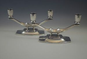 Art Deco Reed Barton Pair Of Double Light Candelabras Candlesticks Silverplate