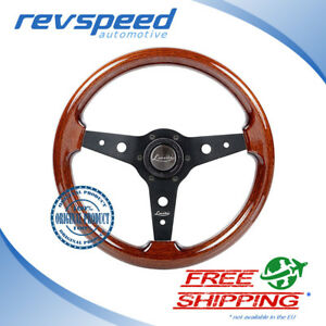Luisi Italy Vintage Steering Wheel Montreal Mahogany Wood Black Spokes 340mm